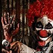 Frightening Clown Doctor Holding Amputated Hand  Poster