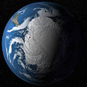 Ful Earth Showing Simulated Clouds Poster by Stocktrek Images