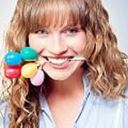 Fun Party Girl With Balloons In Mouth Poster