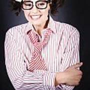 Funny Female Business Nerd With Big Geeky Smile Poster