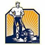 Gardener Mowing Lawn Mower Retro Poster