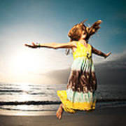 Girl Jumping And Dancing On Beautiful Beach. Poster