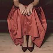 Girl On Black Sofa Poster