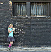 Girl Standing Next To Brick Wall Poster