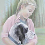 Girl With Her Dog Poster