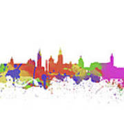 Glasgow Watercolor  Skyline  Poster