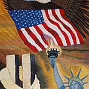 God Bless America Hand Embroidery Poster