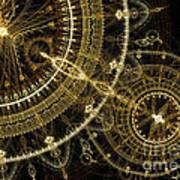 Golden Abstract Circle Fractal Poster