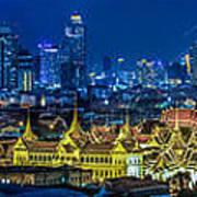 Grand Palace At Twilight In Bangkok Between Loykratong Festival Poster