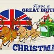 Great British Christmas Santa Reindeer Doube Decker Bus Poster by Aloysius Patrimonio