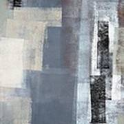 Blocked - Grey And Beige Abstract Art Painting Poster