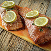 Grilled Salmon Cooked On A Cedar Plank Poster