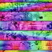 Grunge Colorful Wood Planks Background Poster