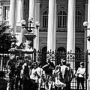 guided tour group outside the former national congress building Santiago Chile Poster