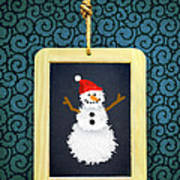 Hanged Xmas Slate - Snowman Poster