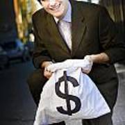 Happy Business Man Smiling With Money Bag Poster