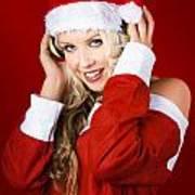 Happy Dj Christmas Girl Listening To Xmas Music Poster
