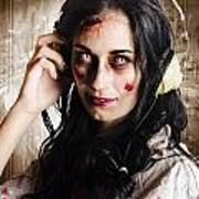 Hard Rock Zombie Listening To Death Metal Music Poster