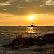 Hawaiian Waves At Sunset Poster