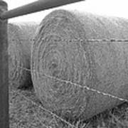 Hay Bales - Black And White Photography Poster