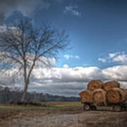 Hay Bales On A Wagon Poster
