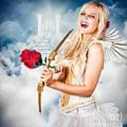 Heavenly Angel Of Love With Flower Arrow Poster