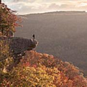 Hiker On Hawksbill Crag In Arkansas Poster