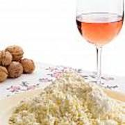 Homemade Cheese Wine And Walnuts Poster