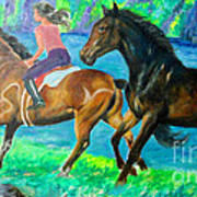 Horse Riding In Lake Poster