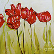 Hot Tulips Poster by Shelley Laffal
