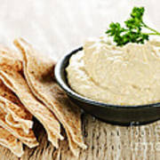 Hummus With Pita Bread Poster