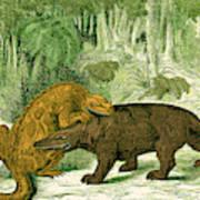 Iguanodon Biting Megalosaurus Poster