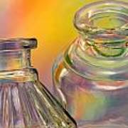 Ink Bottles On Color Poster by Carol Leigh