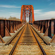 Iron Railroad Bridge Over Water, Texas Poster