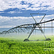 Irrigation Equipment On Farm Field Poster by Elena Elisseeva