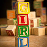 Its A Girl - Alphabet Blocks Poster