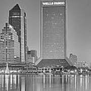 Jacksonville Florida Black And White Panoramic View Poster