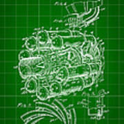 Jet Engine Patent 1941 - Green Poster