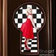 Keyhole Retro Fashion Portrait Of Stylish Girl Poster