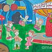 Kid's Drawing Of Circus  Poster