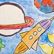 Kid's Painting Of Universe With Planets And Stars Poster