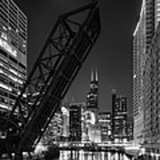 Kinzie Street Railroad Bridge At Night In Black And White Poster
