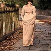 Lady In Regency Dress Walking Poster