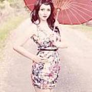 Lady With Red Parasol Poster