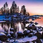 Lake Tahoe Winter Sunset Poster