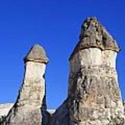 Landscape Of Limestone Fairy Chimneys At Zelve In Cappadocia Turkey Poster