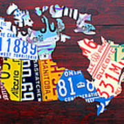 License Plate Map Of Canada Poster