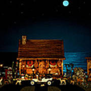 Log Cabin And Out House  Scene With Old Vintage Classic 1908 Model T Ford In Color Poster by Leslie Crotty