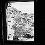 Looking Out Through Window From Interior Of Historic Stone Cabin Built By The Civilian Conservation  Poster by Joe Fox