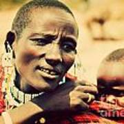 Maasai Baby Carried By His Mother In Tanzania Poster